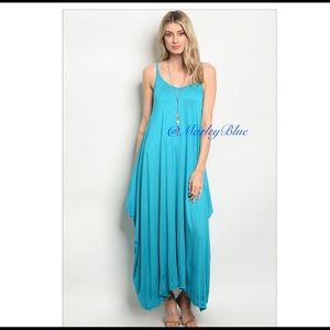 Turquoise Oversized Knit Tank Maxi Dress